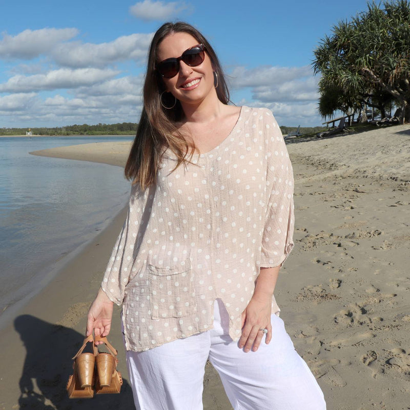 Ladies polka dot kaftan shirt top with 3/4 sleeve, pocket and asymmetrical hemline. Pure 100% linen and made in Italy. Generous cut fits petite to plus size - Rose pink