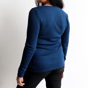 Long Sleeve Cotton Scoop T-shirt