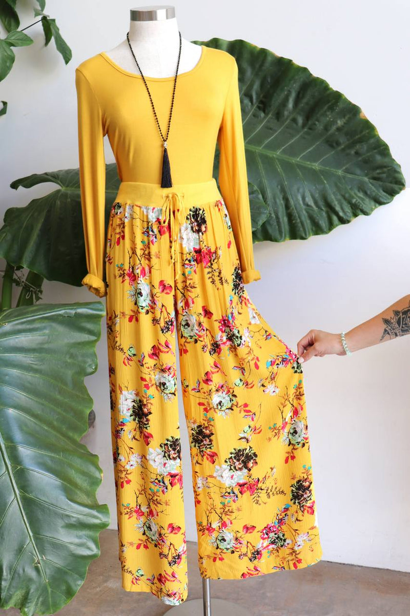 Wide-leg, floaty lounge, floral pants with stretch waistband and drawstring. Keeping you cool and comfortable from spring to summer, resort to beach. High waisted fit with a generous leg cut, palazzo-style pant. Caters for plus size up to size 20 - Sasaki Print  - Sunshine Yellow.