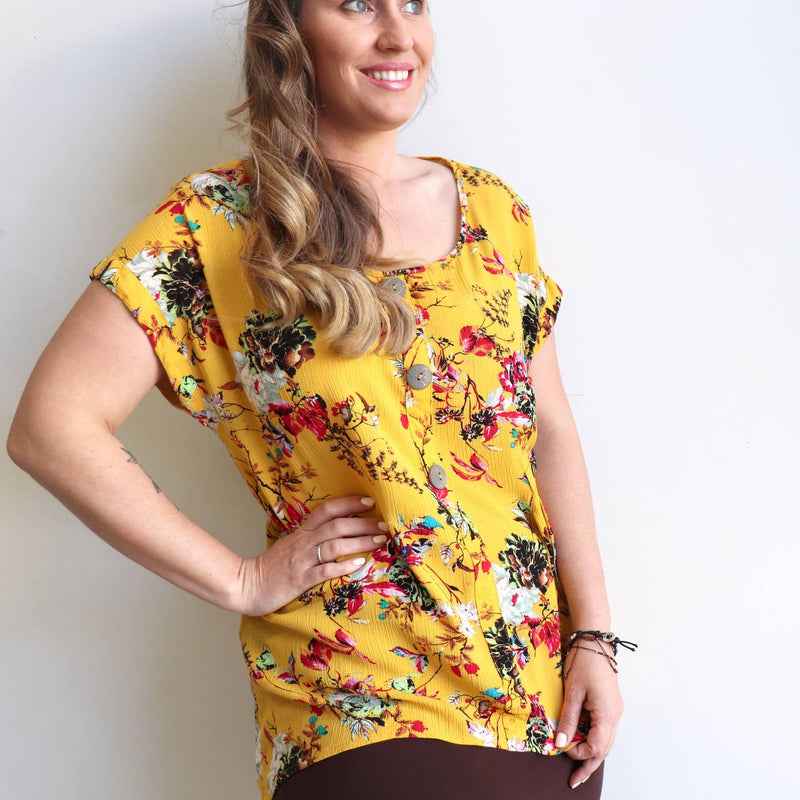 Three button, short sleeve top, shirt blouse for springtime colour or casual summer outfit. Generous cut for petite to plus size from sizes 10 to 20 - Floral Sasaki Print - Sunshine Yellow.
