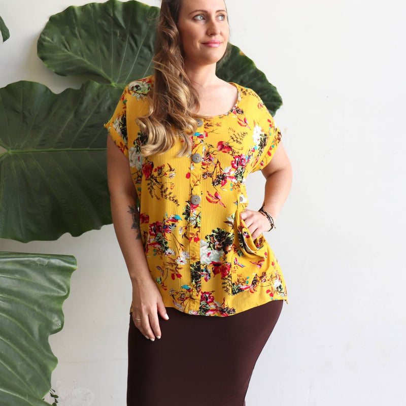 Three button, short sleeve, shirt blouse for springtime colour or casual summer comfort - Floral Sasaki Print - Sunshine Yellow.