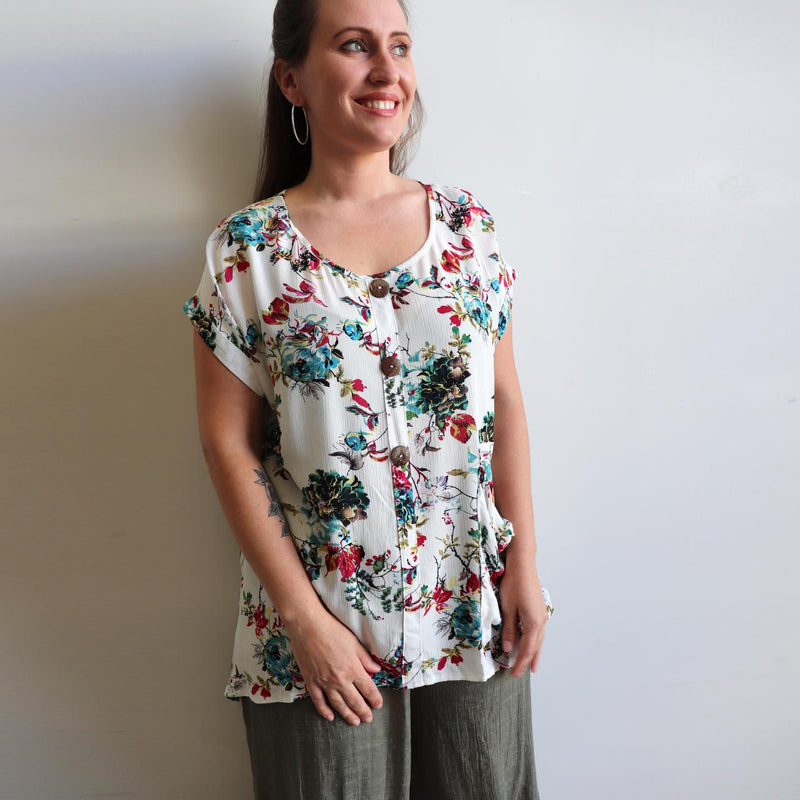 Three button, short sleeve top, shirt blouse for springtime colour or casual summer outfit. Generous cut for petite to plus size from sizes 10 to 20 - Floral Sasaki Print - Vintage White