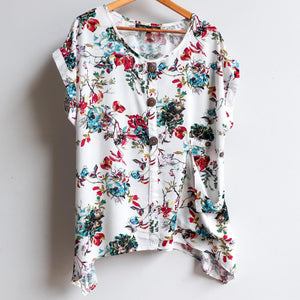 Three button, short sleeve top, shirt blouse for springtime colour or casual summer outfit. Generous cut for petite to plus size from sizes 10 to 20 - Floral Sasaki Print - Vintage White.
