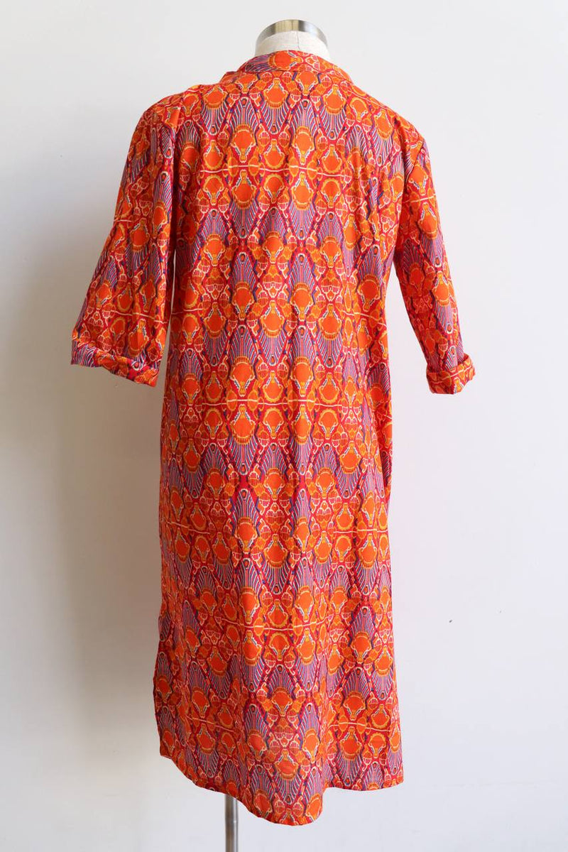 Long Kurta Tunic Dress - Tangerine Dream. Available in sizes S - XXXL.