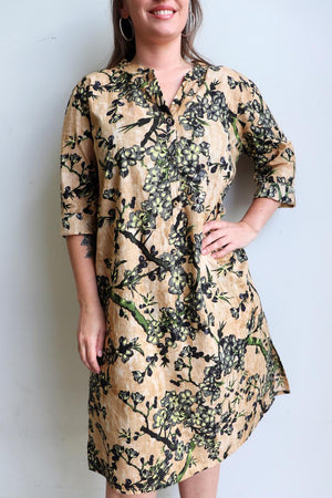 Ladies spring to summer, button-up, knee length, half sleeve tunic dress. Sizes small through to XXL - Olive