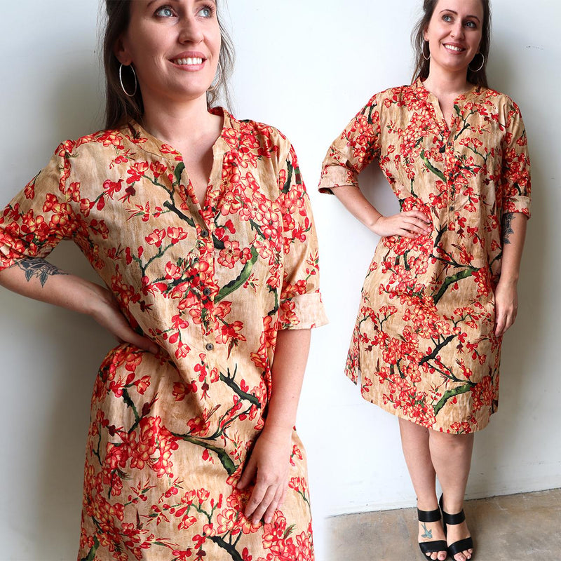 Ladies spring to summer, button-up, knee length, half sleeve tunic dress. Sizes small through to XXL - Peach.
