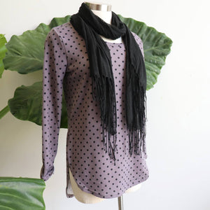 The Lucky Spot Top, soft to touch, stretchy garment, easy wash and wear acrylic blend. Mushroom.