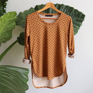 The Lucky Spot Top, soft to touch, stretchy garment, easy wash and wear acrylic blend. Ochre.