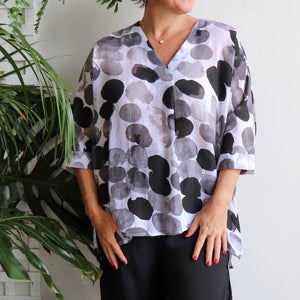 Lucy In The Sky With Diamonds Kaftan Top is a wonderful plus size fitting in a light summer style featuring an artistic spot print.  Available in charcoal, navy blue, melon and teal.