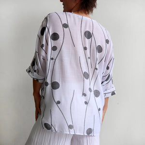 Chic and stylish women's summer blouse in a trendy abstract print. Wide cut with below the hip hemline and 3/4 length sleeves. Cotton/poly blend in sizes 8-22.