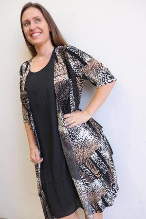 Make It Happen long open cardigan jacket in Jersey Animal Print. Plus size.