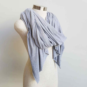 Super versatile oversize jersey acrobat scarf, wrap + throw-over in marle grey.