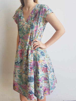 Matilda Cotton Dress with Pintucks - Rainbow Paisley