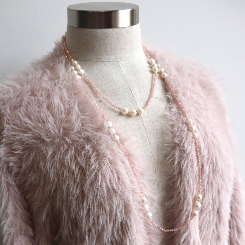 Handmade Freshwater Mazu Pearl and Cutglass Necklace jewellery. Champagne Pink.