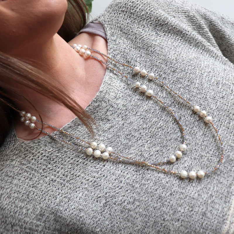 Freshwater Mazu Pearl and Cutglass Necklace jewellery. Neutral.