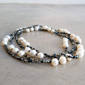 Freshwater Mazu Pearl and Cutglass Necklace jewellery. Black