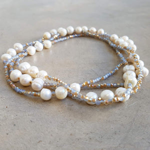 Freshwater Mazu Pearl and Cutglass Necklace jewellery. Neutral