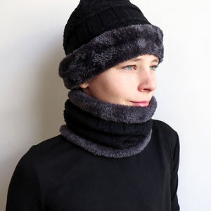 Minky Knit Beanie + Neck Warmer winter knitwear hat + scarf accessory. Black.