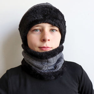 Minky Knit Beanie + Neck Warmer winter knitwear hat + scarf accessory. Charcoal grey.