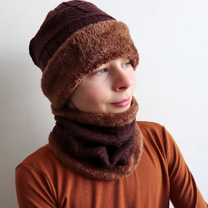 Minky Knit Beanie + Neck Warmer winter knitwear hat + scarf accessory. Chocolate brown.