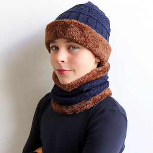 Minky Knit Beanie + Neck Warmer winter knitwear hat + scarf accessory. Navy blue.