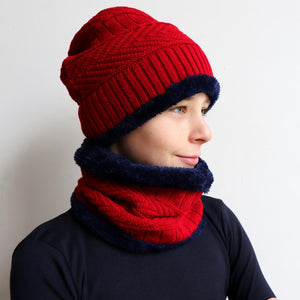 Minky Knit Beanie + Neck Warmer winter knitwear hat + scarf accessory. Red and navy.