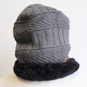 Minky Knit Beanie + Neck Warmer winter knitwear hat + scarf accessory. Charcoal grey beanie.