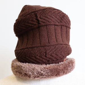 Minky Knit Beanie + Neck Warmer winter knitwear hat + scarf accessory. Chocolate brown beanie hat.