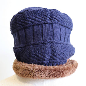 Minky Knit Beanie + Neck Warmer winter knitwear hat + scarf accessory. Navy blue hat.