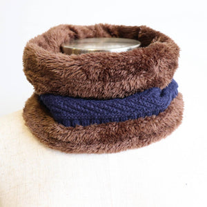 Minky Knit Neck Warmer. Navy Blue.