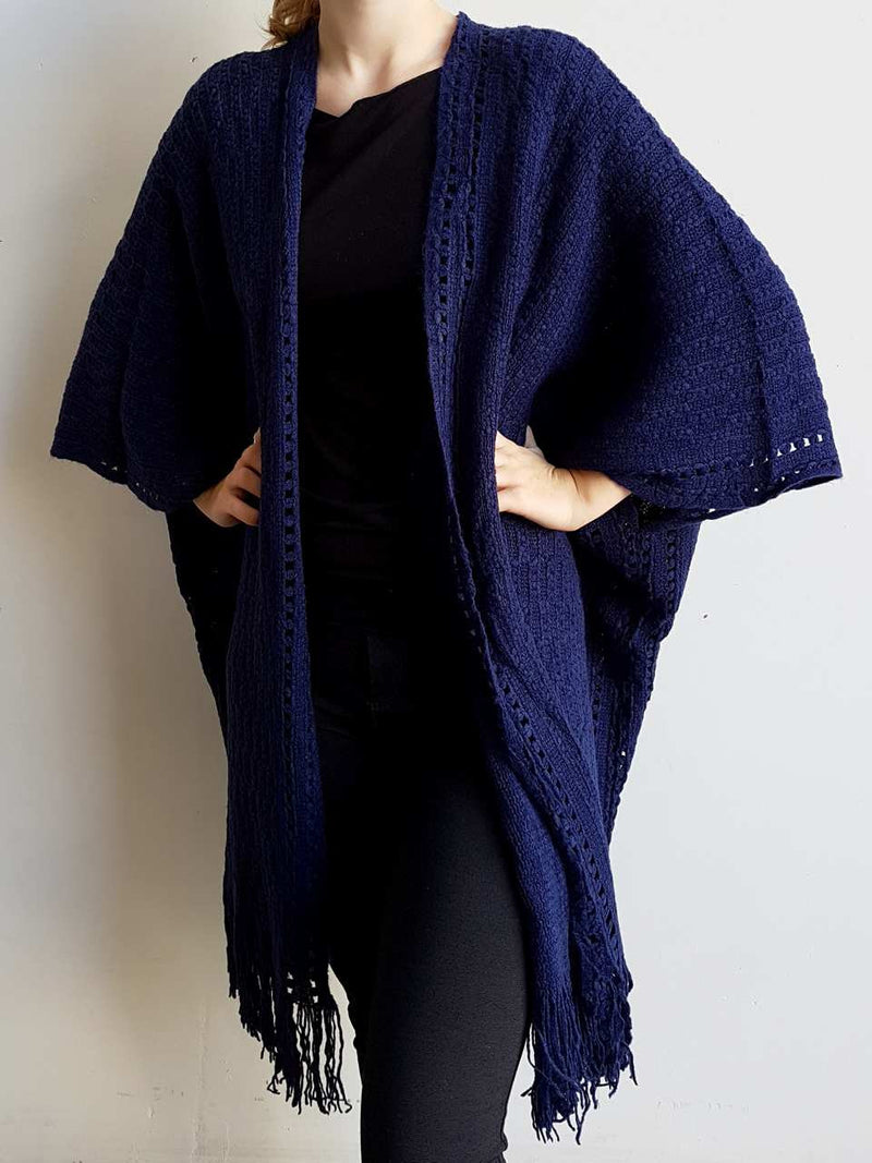 Minky Poncho Cardi. Soft with long fringe tassel. Navy Blue