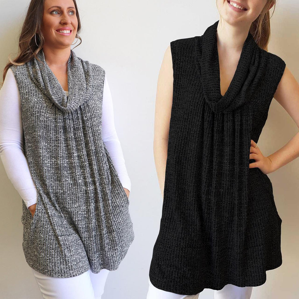 Cowl neck sleeveless tunic top in silver grey fleck or black knit. Pockets! Plus size available. Sizes 10-22.