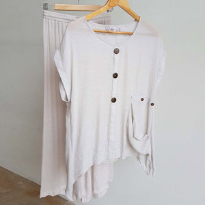 Light+ floaty 3 button sheer blouse / short sleeve top. Moonshine