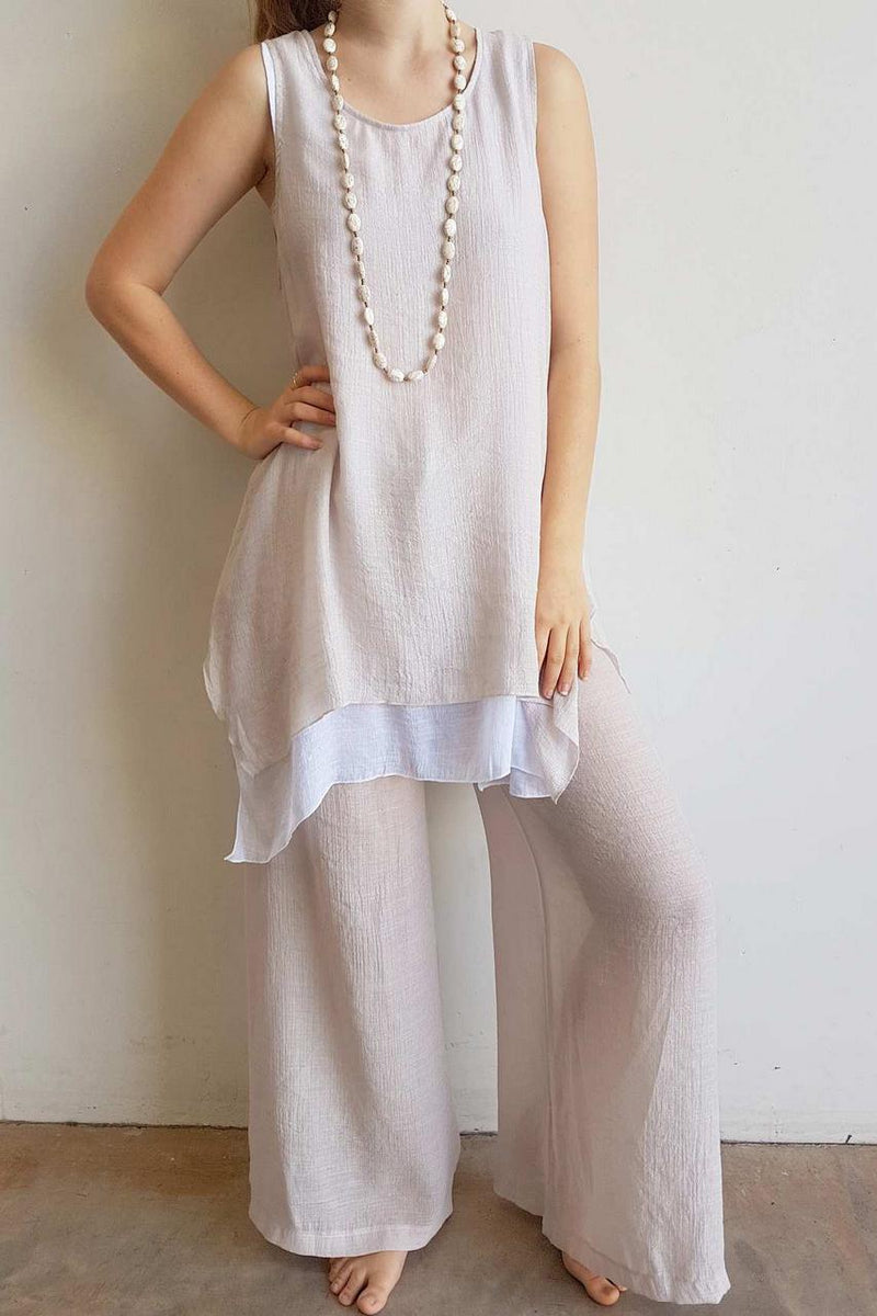 Light + floaty womens contrast layer tunic summer sleeveless top. Moonshine + White.