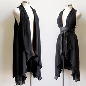 Long length, sleeveless draping cardigan designed for layering- Black