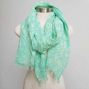 Walk In The Park Scarf - Natural cotton handmade neck accessory for Winter and Summer. Mint Green.