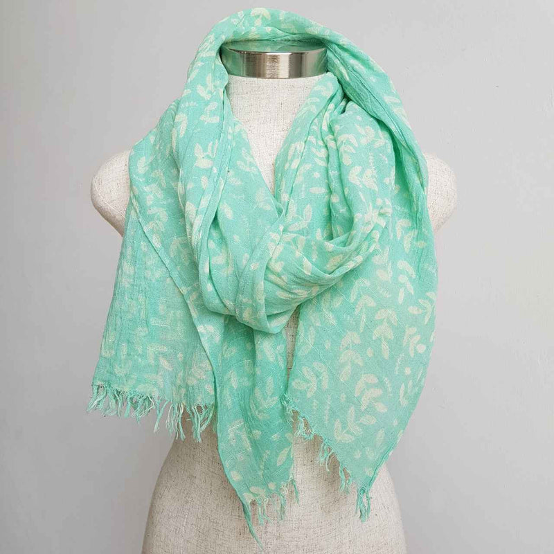 Natural cotton printed scarf fern print. Delicate + soft to touch. Mint with white