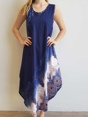 Ladies below the knee scalloped hem sleeveless summer dress. Plus size fitting - Navy blue