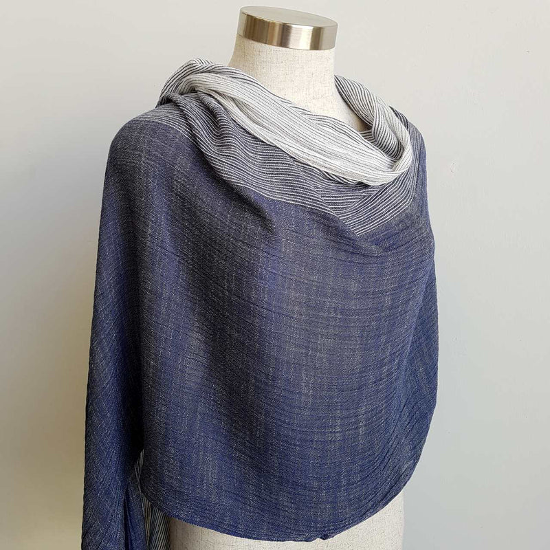 Freshwater delicate scarf gradient colour with subtle stripes + fringe. Navy Blue