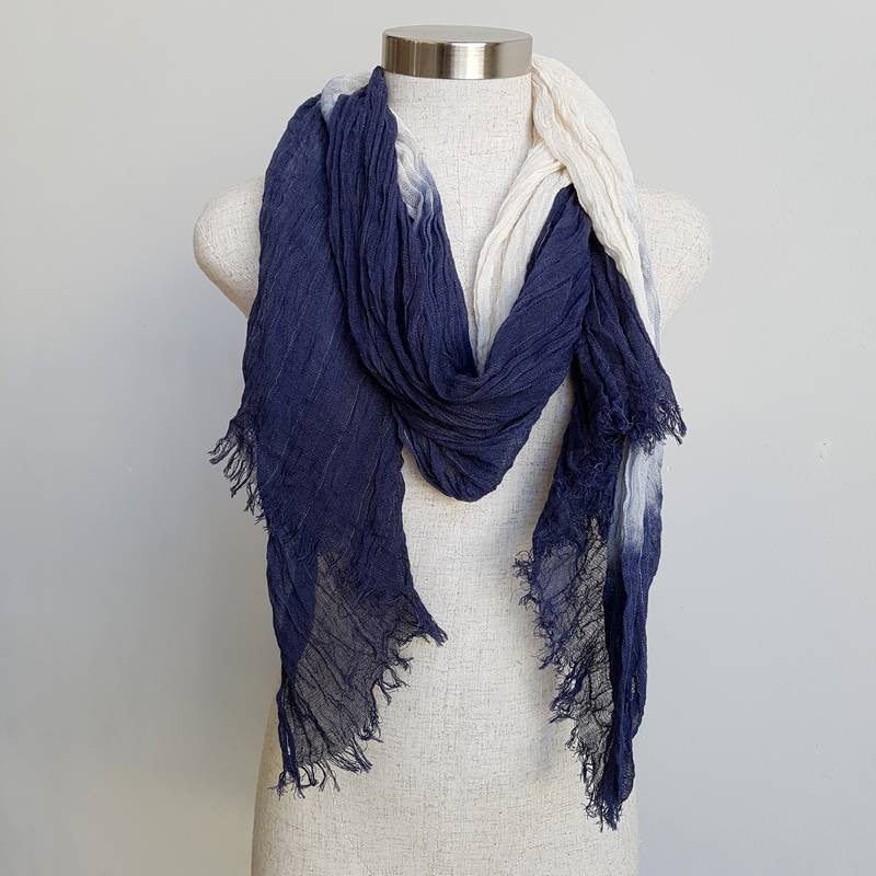 Karma cotton natural ethnic scarf - indigo blue