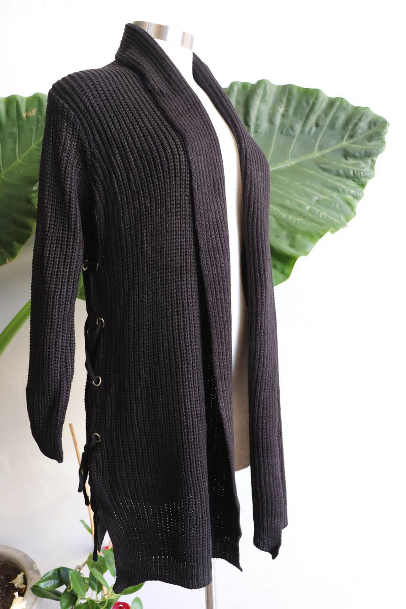 Classic winter style, long length cardigan, made with easy care acrylic fibre. Black.