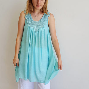 Light + floaty womens beach cover up tunic top / dress with cotton lace detailing. Round neck sleeveless summer dress. Aqua blue.