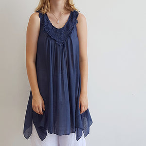 Light + floaty womens beach cover up tunic top / dress with cotton lace detailing. Round neck sleeveless summer dress. Navy blue.