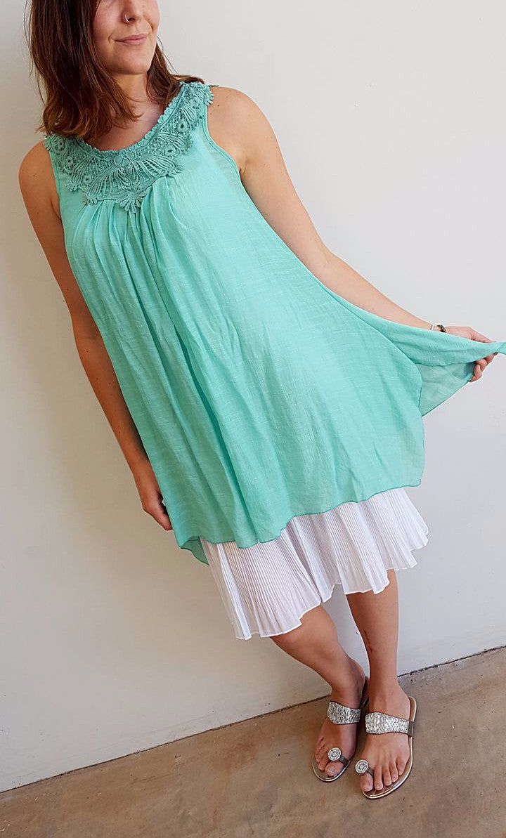 Light + floaty womens beach cover up tunic top / dress with cotton lace detailing. Round neck sleeveless summer dress. Mint.