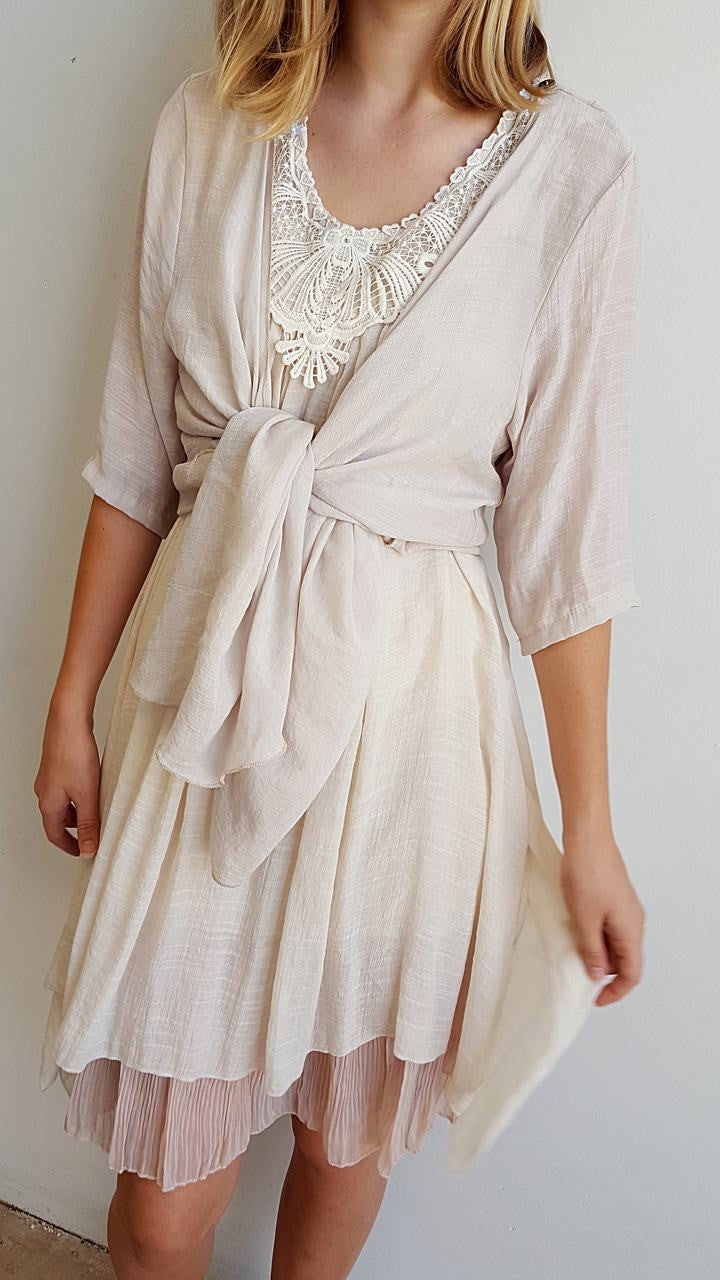 Light + floaty womens beach cover up tunic top / dress with cotton lace detailing. Round neck sleeveless summer dress. Nude beige.