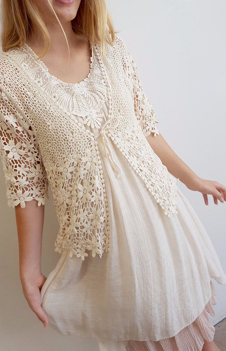 6eb64b65120e Light + floaty womens beach cover up tunic top / dress with cotton lace  detailing.