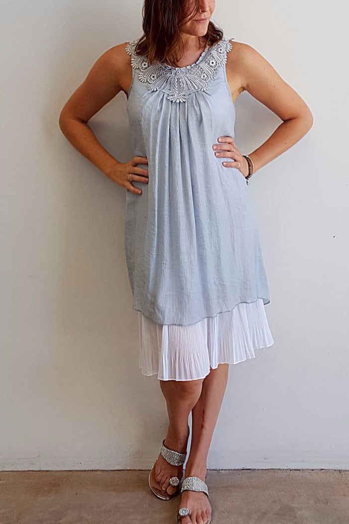 Light + floaty womens beach cover up tunic top / dress with cotton lace detailing. Round neck sleeveless summer dress. Silver.
