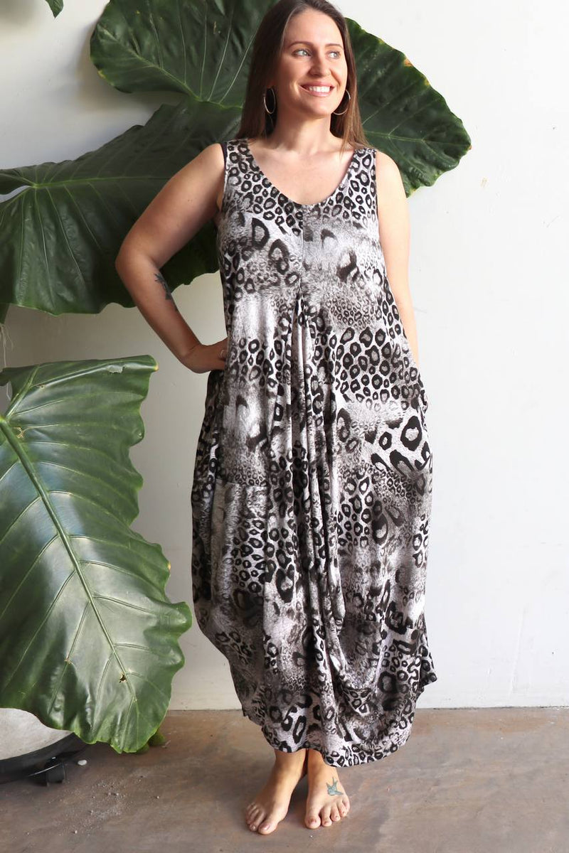 Women's handmade animal print maxi dress in plus size design is a limited edition by KOBOMO.
