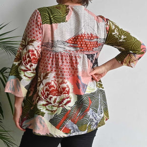 Organic Cotton Pleated Tunic Top by Orientique - Osaka Pink