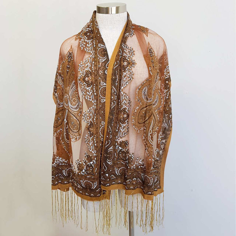Beautiful fine paisley printed sheer scarf with fringing. Burnt Umber.